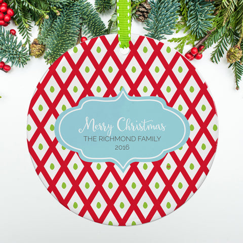 Holiday Lattice Family Ornament