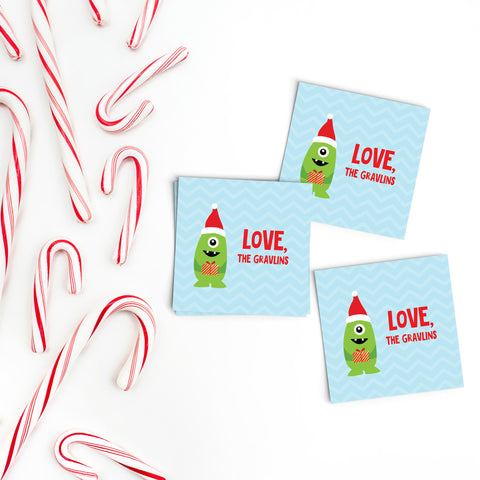Santa Monster Gift Labels