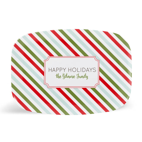 Holiday Stripes Platter