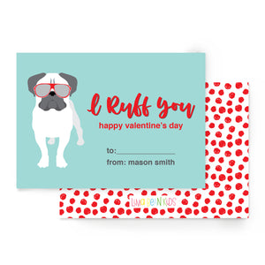 I Ruff You Bulldog Valentine's Cards