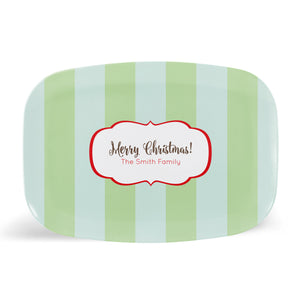 Rugby Stripes Merry Christmas Platter