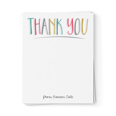 "Multi-Colored ""Thank You"" Note Cards"