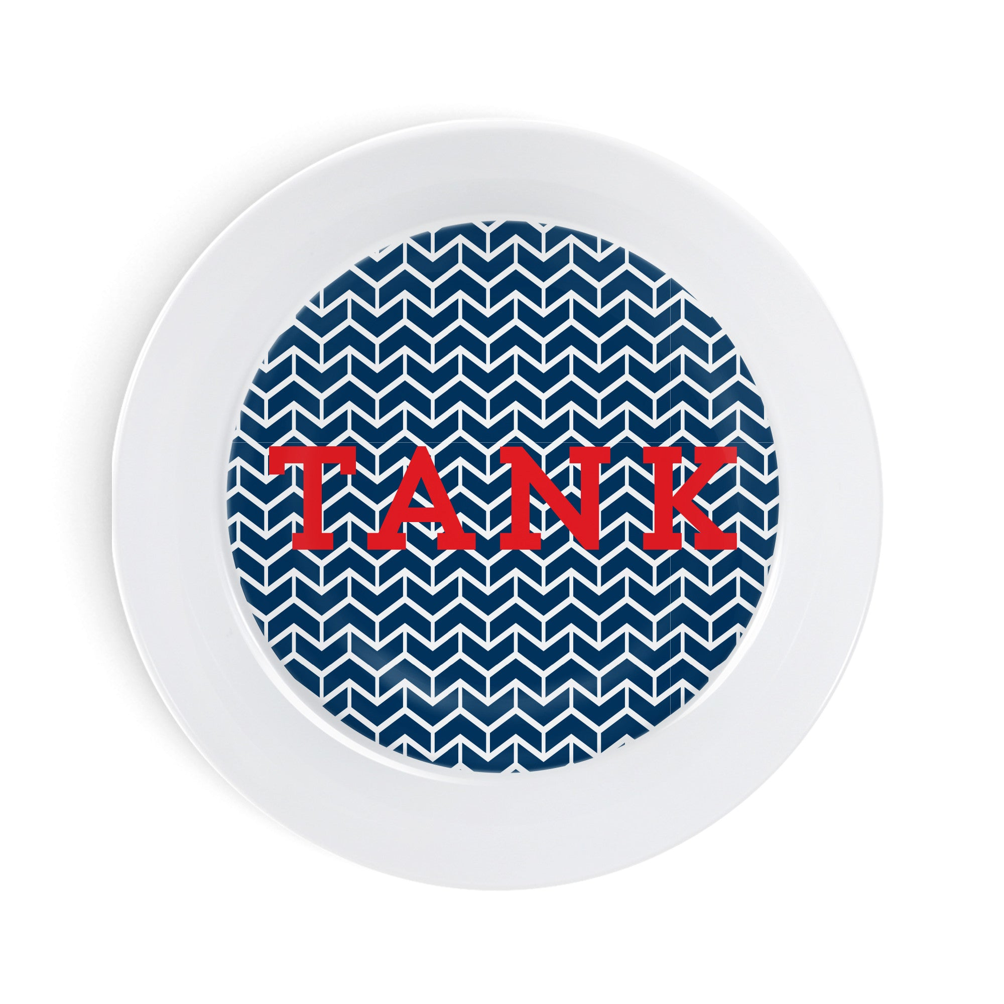 Pet Feeding - Navy Chevron Personalized Bowl