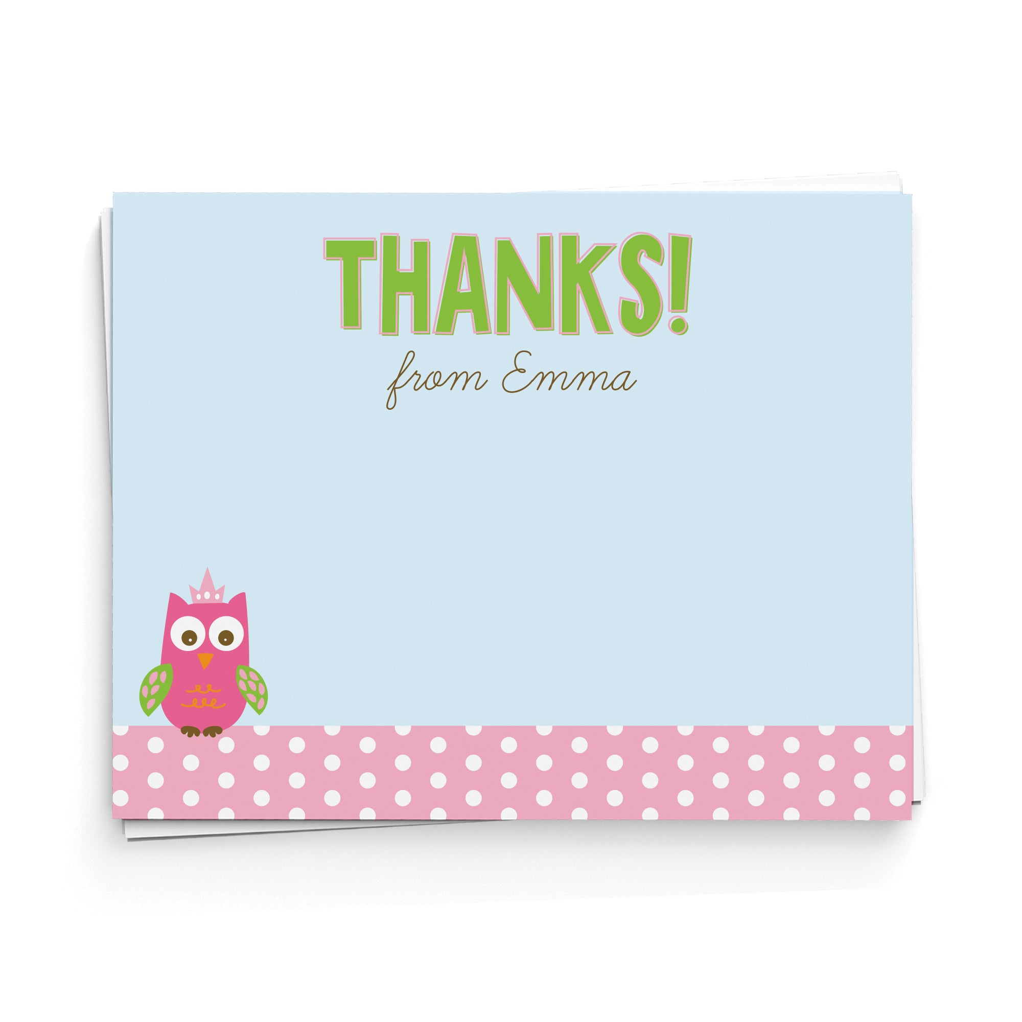 Owl Personalized Thank You Note Cards