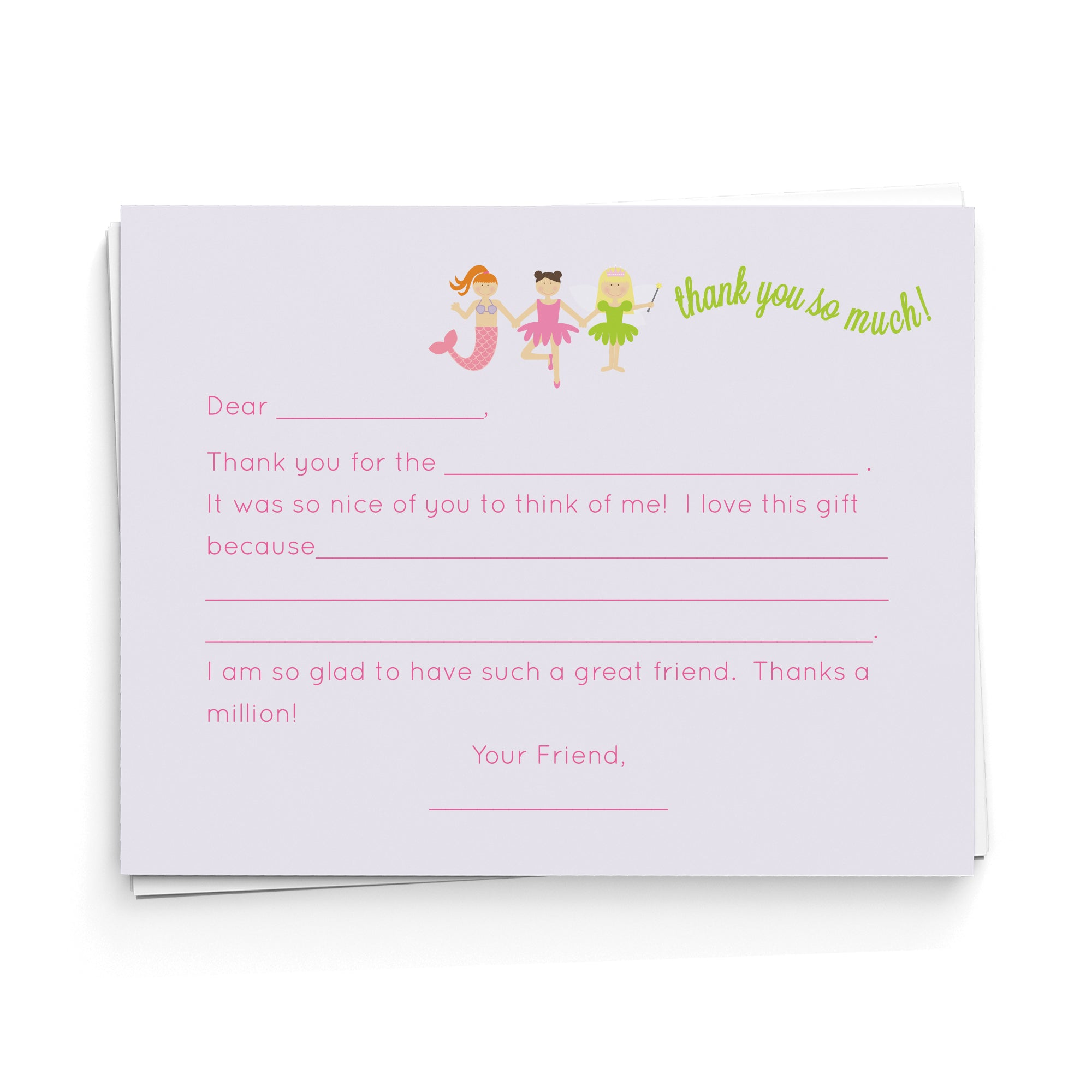 Princess Lineup Fill-in-the-Blank Thank You Cards