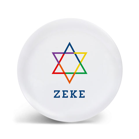 Rainbow Star of David Plate