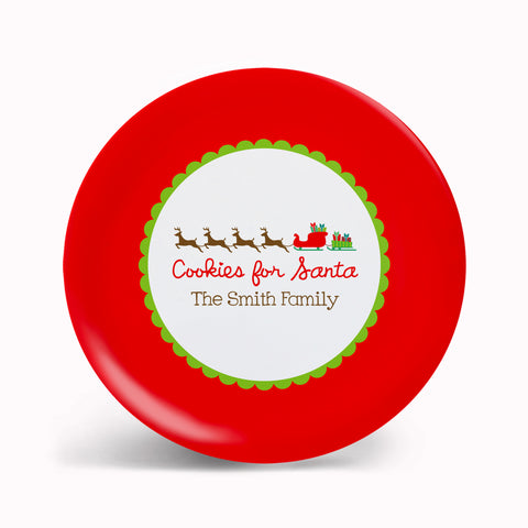 Red Sleigh Cookies for Santa Plate