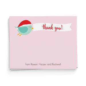 Santa Birdie Thank You Note Cards