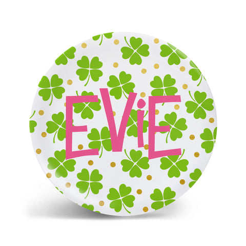 Scattered Shamrocks - Pink Plate