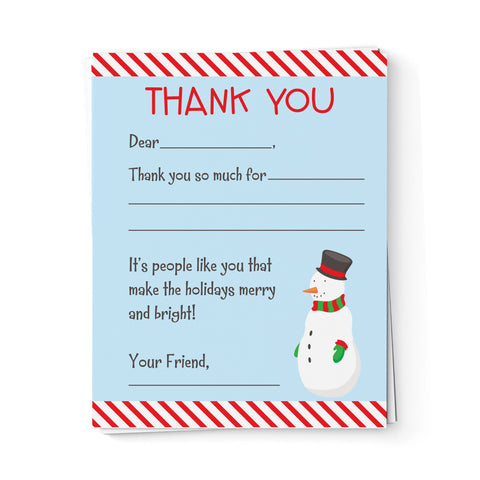 lima bean kids snowman fill in the blank thank you cards
