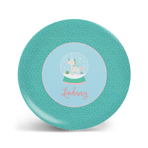 Unicorn Snow Globe Plate