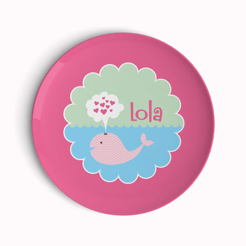 Whale Love Girl Plate