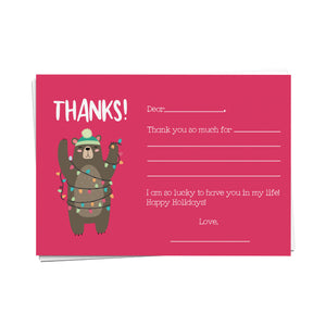 Winter Bear Fill-in-the-Blank Thank You Cards