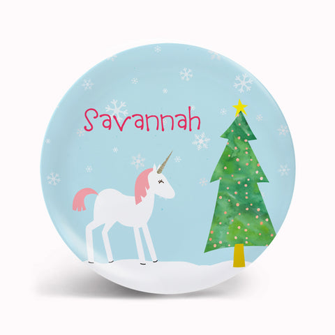 Winter Unicorn Plate
