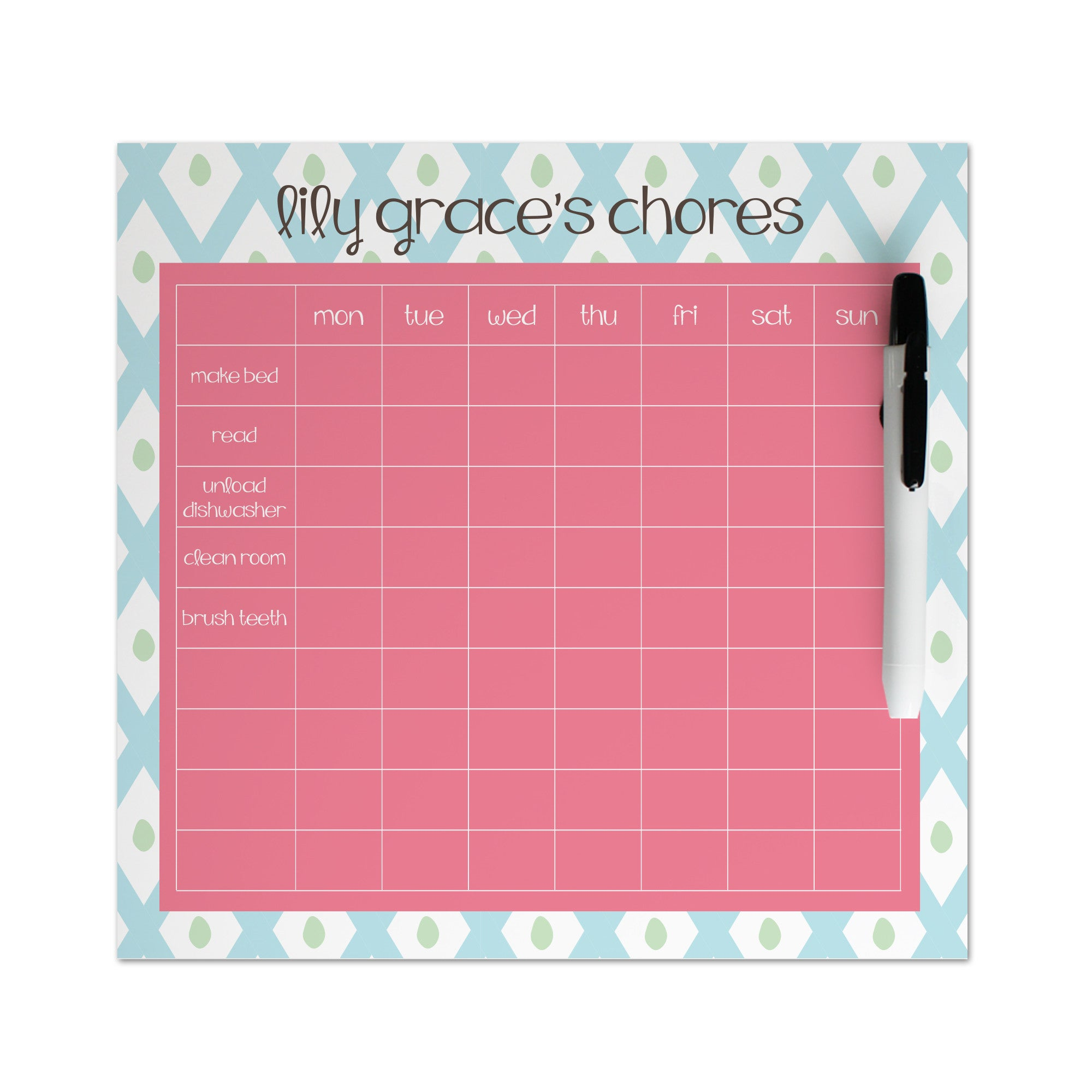 Blue Lattice Chore Chart