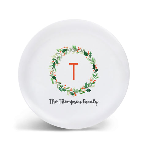 Holly Wreath Personalized Plate