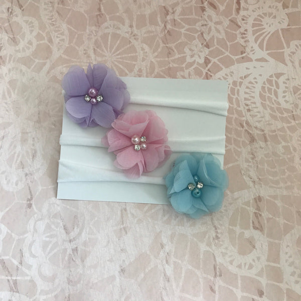 Set of 3 Chiffon Flower Headbands