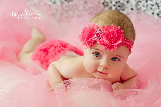 Hot Pink Shabby Baby Headband