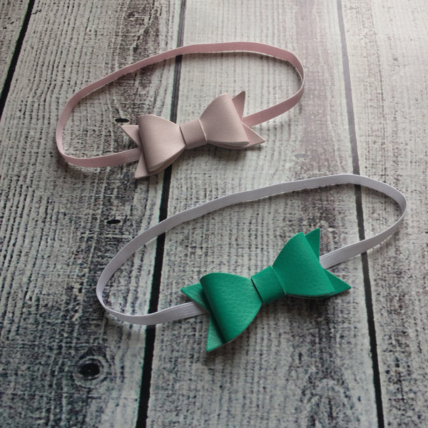 Small Vegan Leather Bow