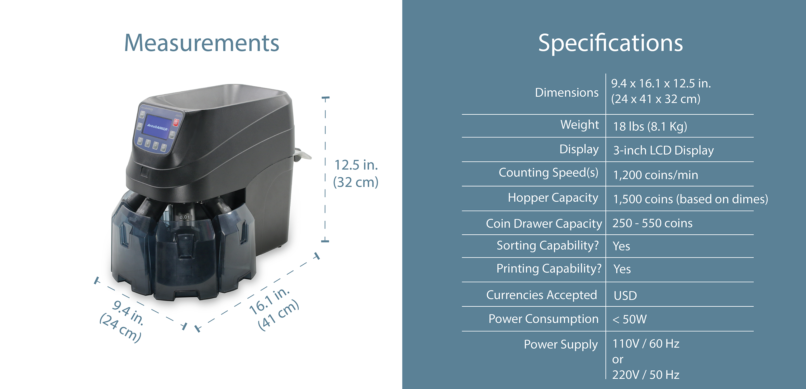 AB550 High Speed Coin Counter & Sorter Features & Specifications
