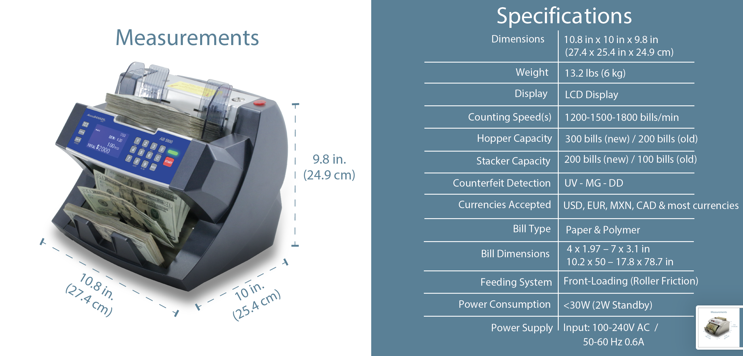 AB5800 Bank Grade Batch Value Bill Counter Features & Specifications