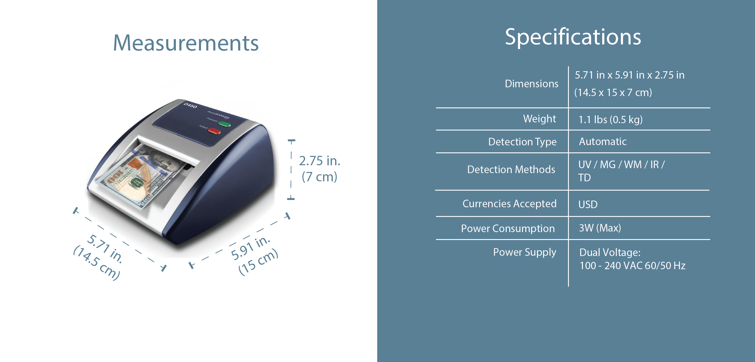D450 Counterfeit Bill Scanner Features & Specifications