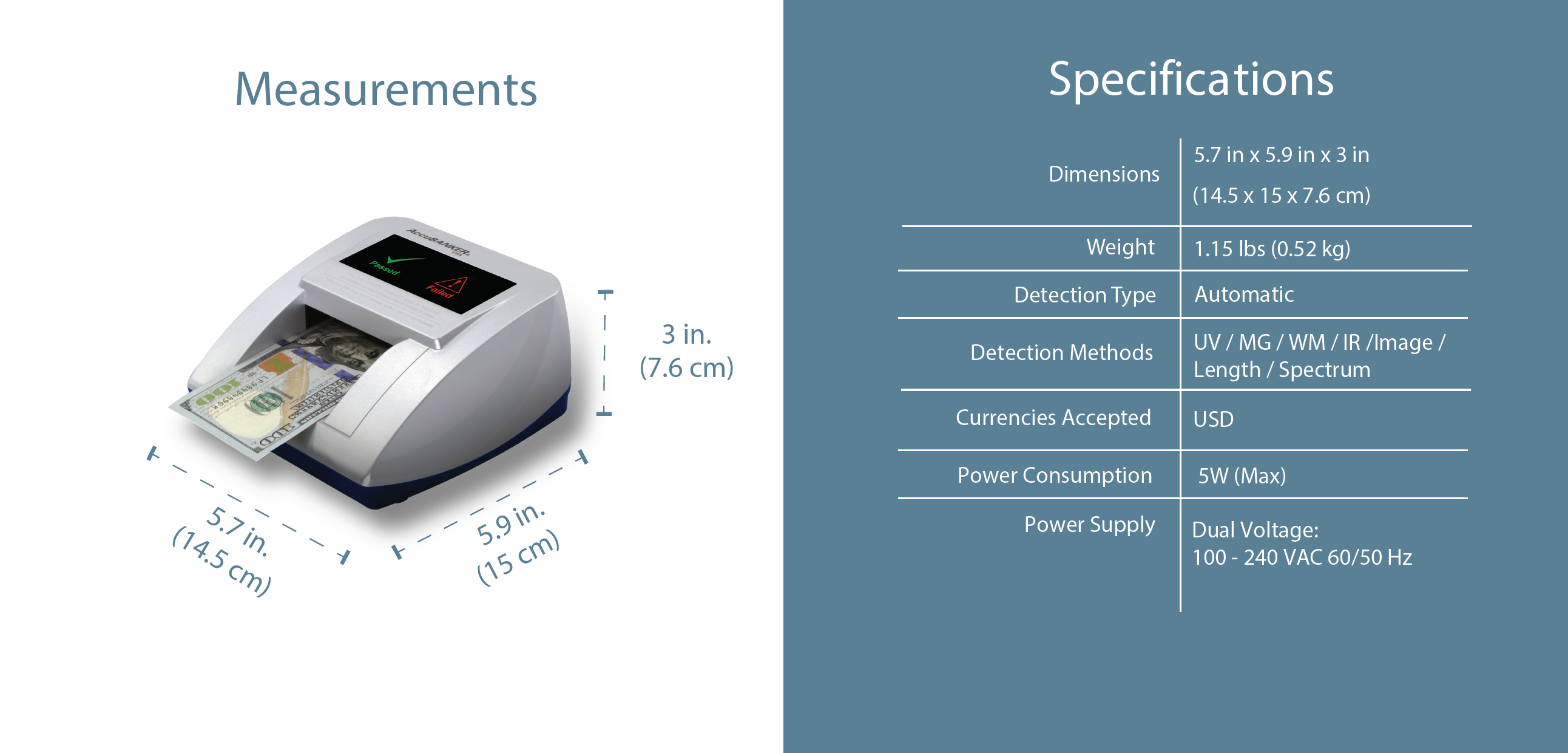 D470 Quadscan Counterfeit Detector Features & Specifications