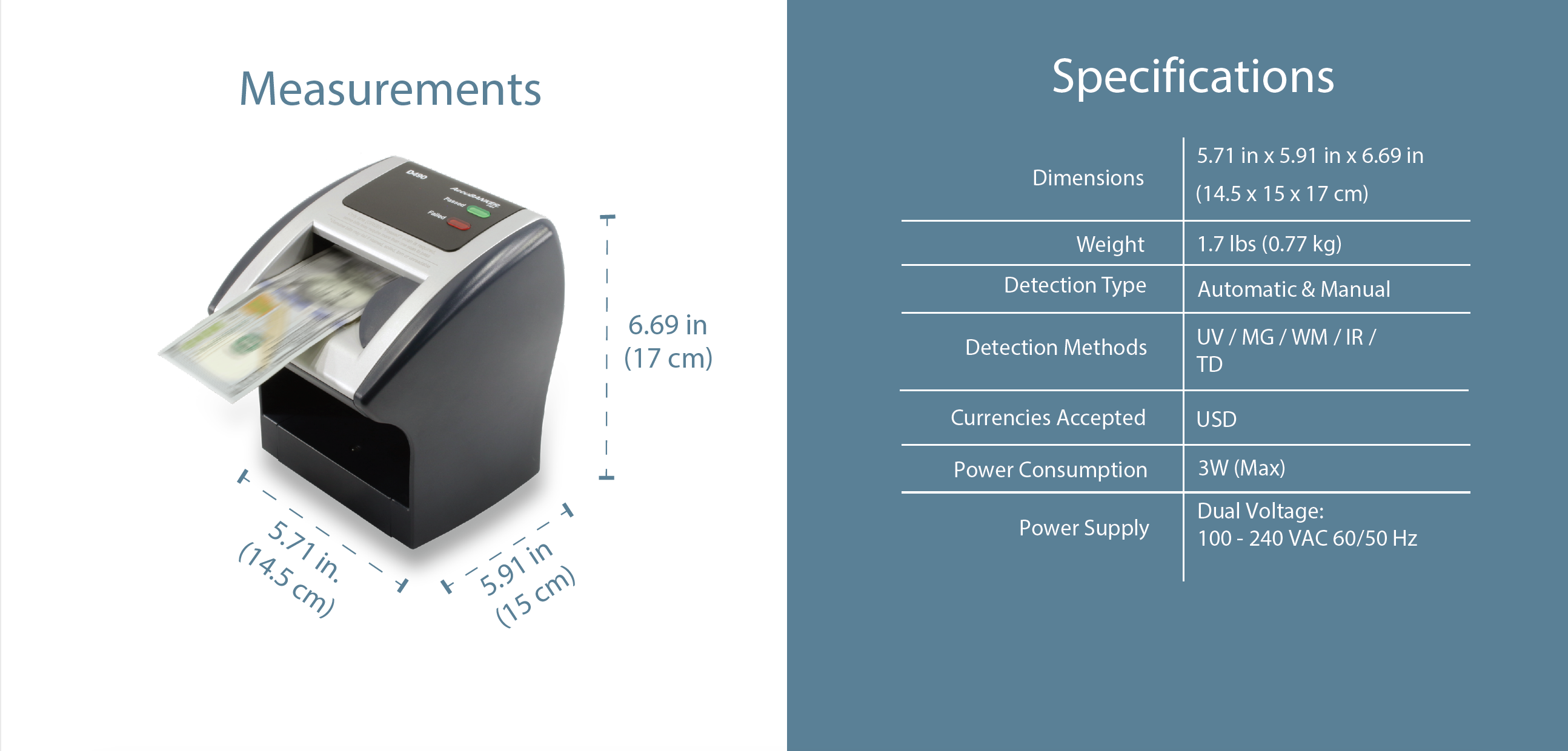 D490 Bill and Card Scanner Features & Specifications