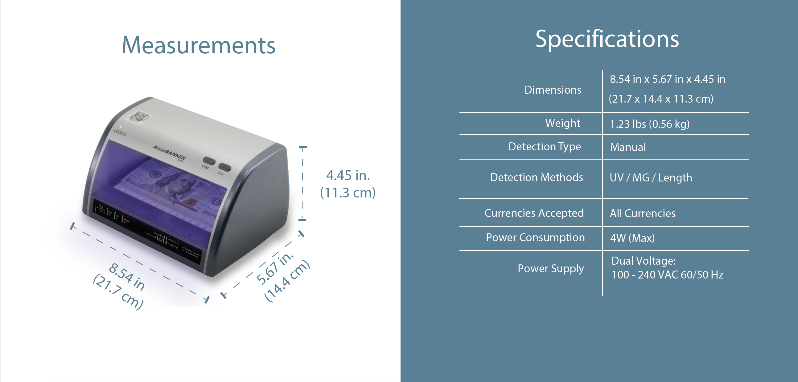 LED420 Cash + Card Detector Features & Specifications