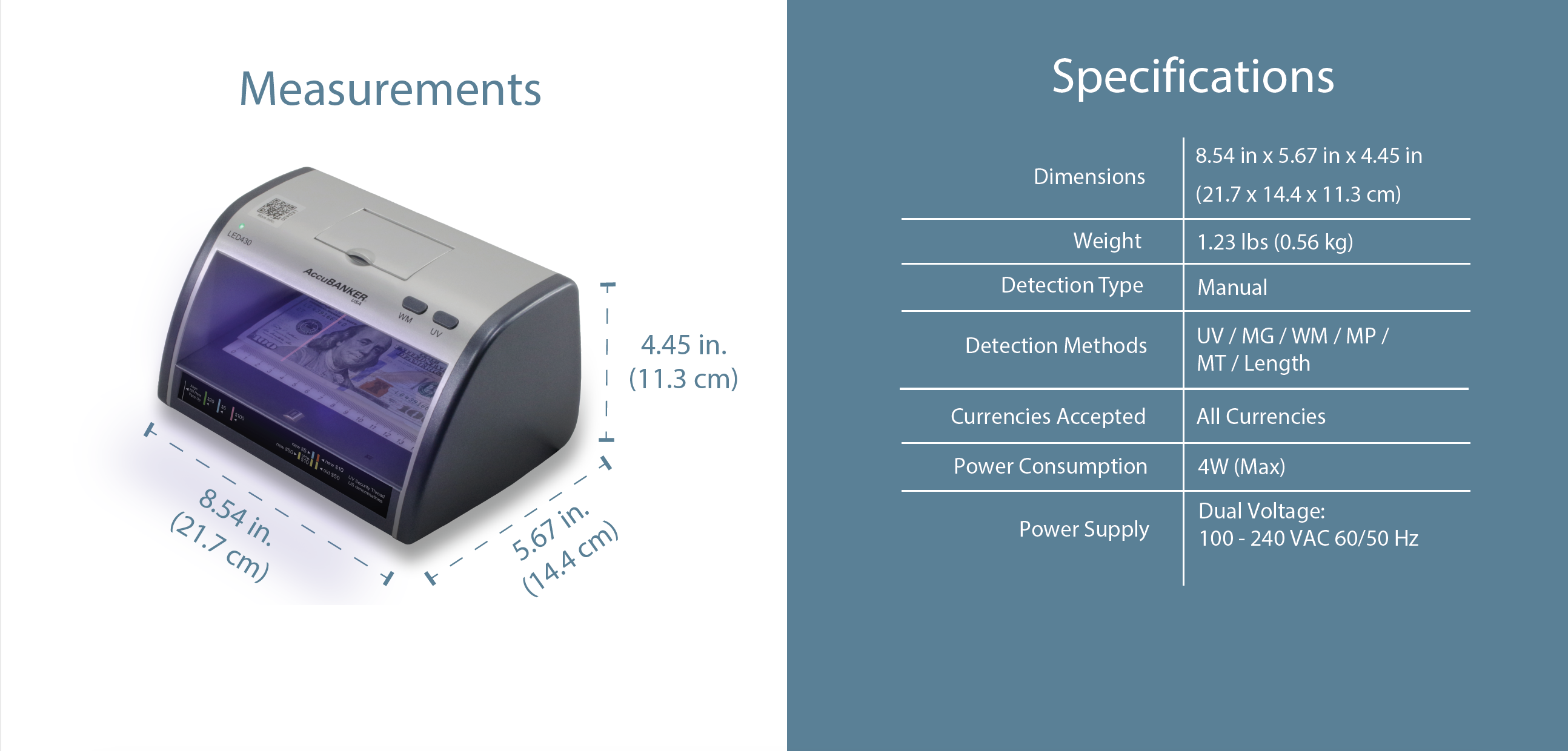 LED430 Counterfeit Bill/Document Validator with Magnifier Features & Specifications