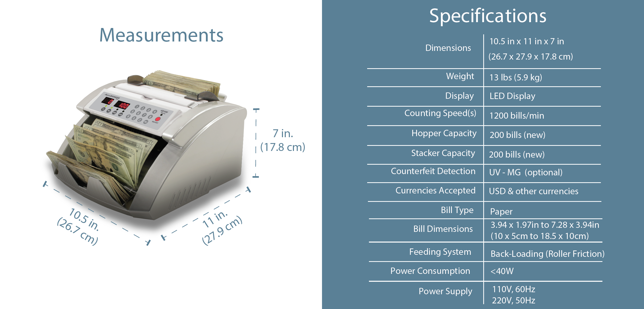 AB1050 Basic Bill Counter Features & Specifications