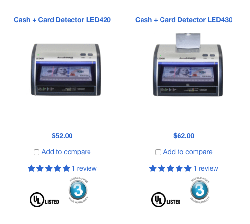 accubanker counterfeit detectors with ul-listed emblem