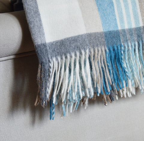 Blue Check Bronte Throw