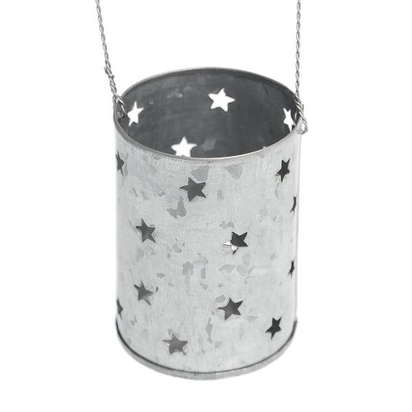 Zinc Stars Tealight Hanging Holder