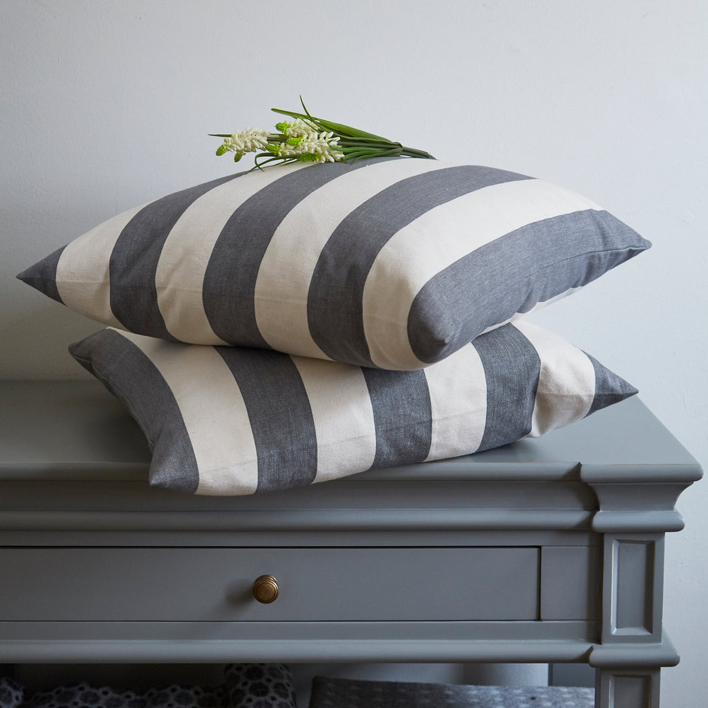 Grey and Cream Awning Stripe Cushion