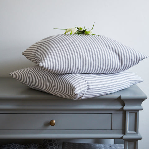 Grey and White Fine Stripe Cushions