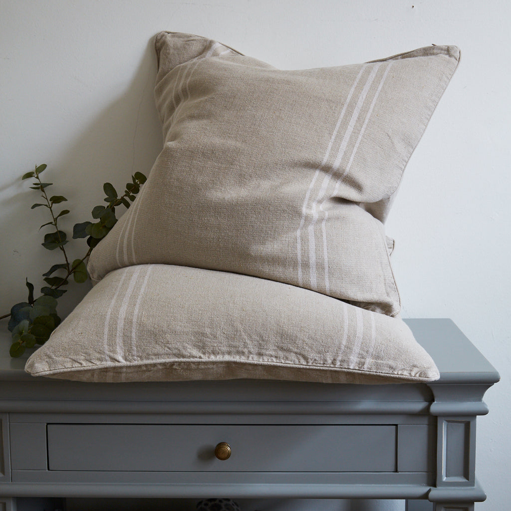 Large Stripe Natural Linen Cushion