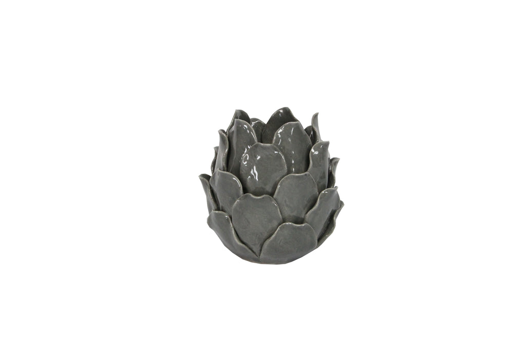 Grey Flower T Light Holder