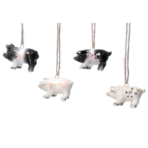 Set of 4  Ceramic Pig Hanging Decorations