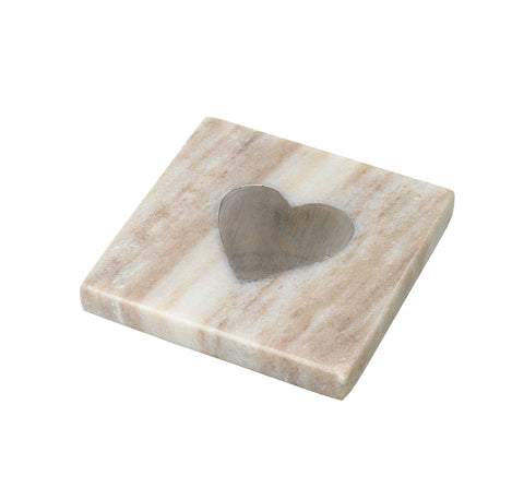Marble Coaster with Silver Heart Detail