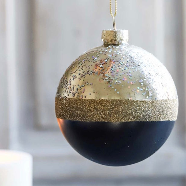 Black and Gold Sparkle Bauble
