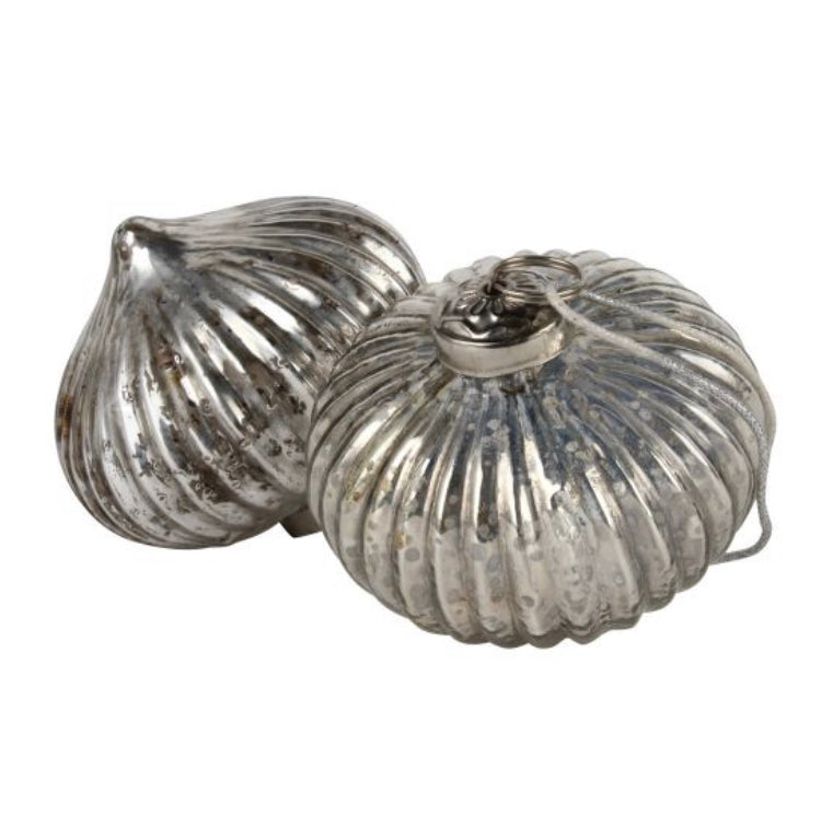 Antique Silver Ribbed Onion Shaped Bauble