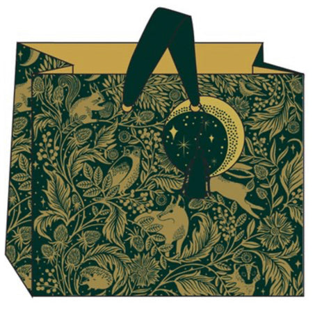 Gold and Forrest Green Woodland Design   Gift Bag