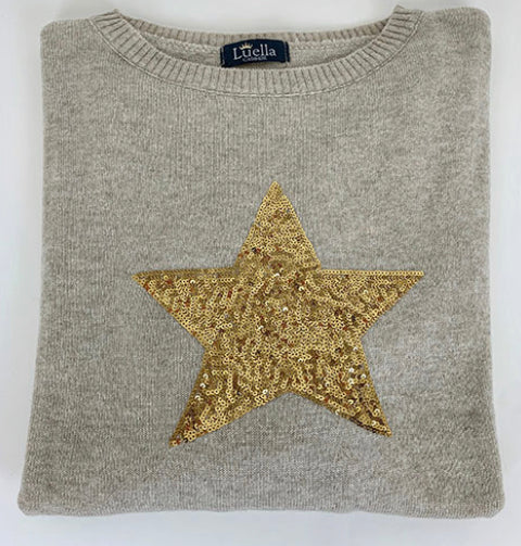 Cashmere Mix Sand Jumper with Large Sequin Star