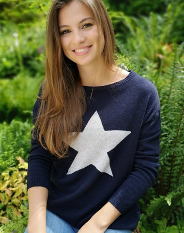 Classic Cashmere Mix Navy Jumper with Large Star