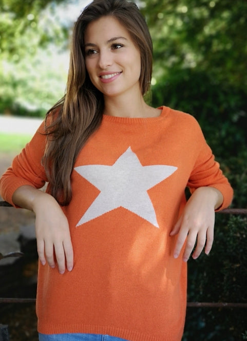 Classic Cashmere Mix Tangerine Jumper with Large Star