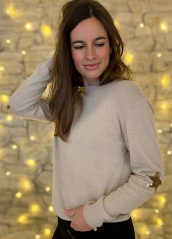 Cashmere Mix Sand Jumper with Sequin Star Sleeve Details