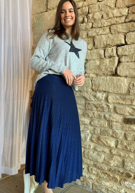 Lurex Pleated Skirt Blue