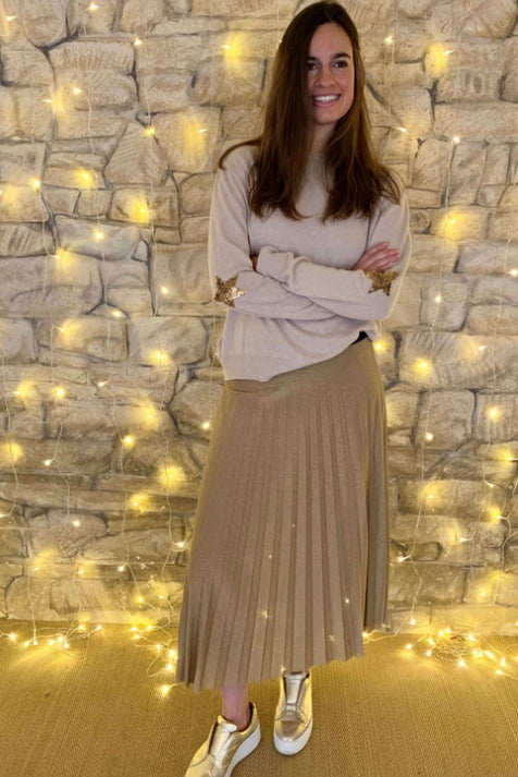 Lurex Pleated Skirt Gold