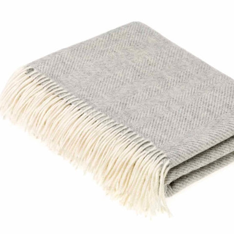 Grey Lambswool Herringbone Throw by Bronte by Moon